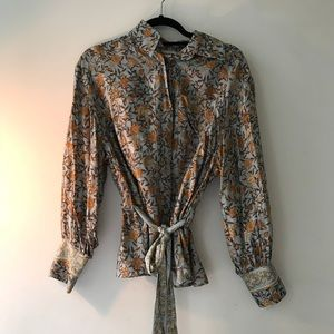 Satin effect long sleeve top from HM! Sz 2